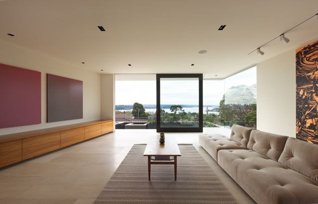 SMARTHOMEWORKS - smarthome home automation Sydney - living room with glass walls